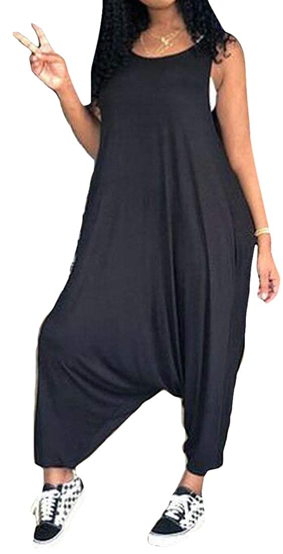 UUYUK Women Beach Summer Loose Fit Baggy-Pants Club Solid Color Sleeveless Jumpsuit Romper