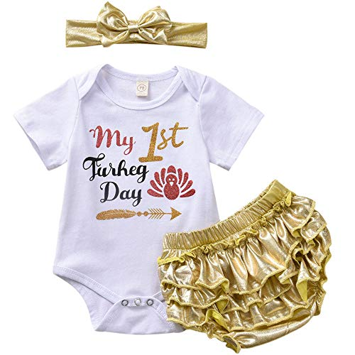 ASTRILL Baby Girl Thanksgiving Outfit Glitter Print Bodysuit+Ruffled Bloomers+Hair Bow Gold