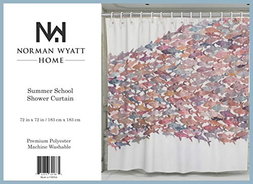 "Norman Wyatt Home Summer School Print Polyester Fabric 72""x72"" Bathroom Shower Curtain with Hooks - 100 % Polyester SUMMER SCHOOL COLORFUL SET - This exclusive print and high quality shower curtain is sure to impress. The unique and classic, art-inspired shower curtain is designed in the USA and digitally printed at our manufacturing facility to create clean and vibrant images that will beautify your bathroom. ODOR FREE - We only use premium polyester when manufacturing our high quality shower curtains. They are machine washable and 100% Mildew Resistant. - shower-curtains, bathroom-linens, bathroom - 51rwedJTdnL -"