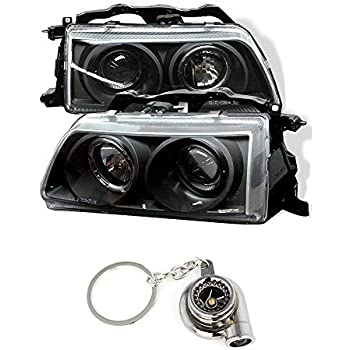Honda Civic/CRX Projector Headlights LED Halo Black Housing With Clear Lens+ Free Gift Key Chain Spinning Turbo Bearing
