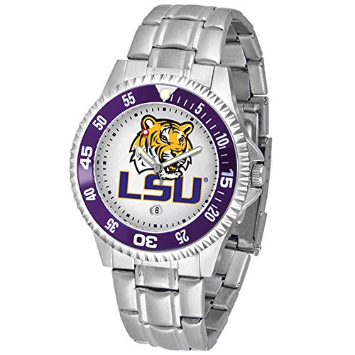 Sport State Steel Watch Tigers (Louisiana State (LSU) Tigers Competitor Watch with a Metal Band)