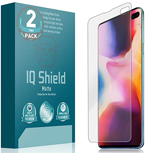 IQ Shield Matte Screen Protector Compatible with Galaxy S10 Plus 6.4 inch (Max Coverage)(2-Pack) Anti-Glare Anti-Bubble Film (NOT Compatible with Verizon S10 5G 6.7)