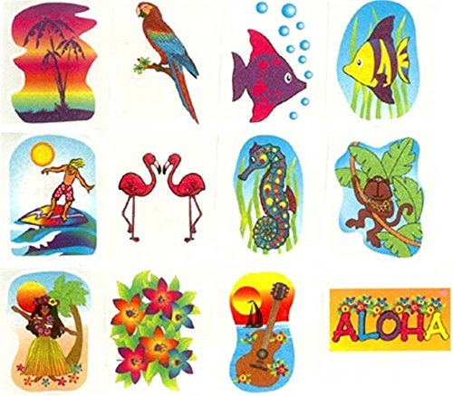 Tropical Glitter Tattoos - Novelty Jewelry & Tattoos & Body