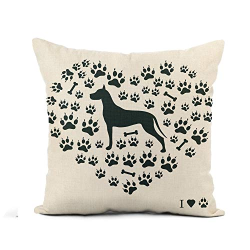 - Awowee Flax Throw Pillow Cover Nice of Great Dane Silhouette Dog Tracks and Bones 18x18 Inches Pillowcase Home Decor Square Cotton Linen Pillow Case Cushion Cover