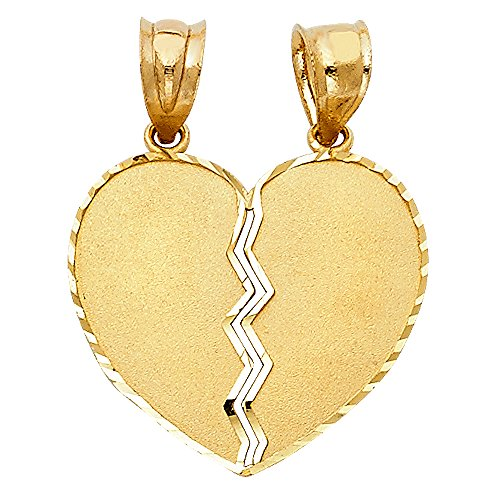 14k Yellow Gold Couple Broken Heart Pendant Charm by JewelrySuperMart Collection