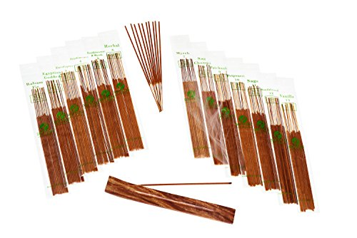 (Hand-Dipped Incense & Burner Gift Set - 120 Stick Variety, 12 Scent Assortment - Plus Bonus)