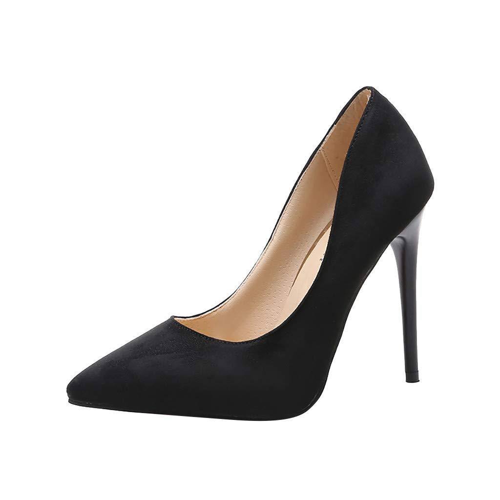 Malbaba High Heels, Womens Pointed Toe Slip on Stilettos Party Wedding Pumps Basic Shoes Black