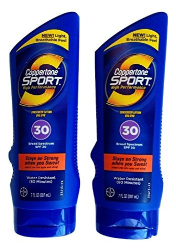 Coppertone Ultra Sweat - Coppertone Sport Sunscreen Lotion, SPF 30, Ultra Sweat-Proof, 7-Ounces. (Pack of 2) by Coppertone