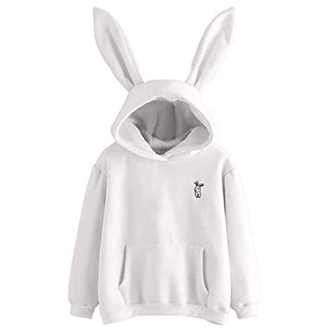 ZYEE Womens Sweater Long Sleeve Rabbit Hoodie Women Sweatshirt Pullover Tops Blouse at Amazon Womens Clothing store: