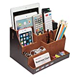 TV Remote Control Holder, Bed Side Organizer Caddy, Nightstand Storage Box with Multiple Compartments , Office or Home Desk Stationery holds Apple Phones, Tablets, Books, Glasses, (Brown)