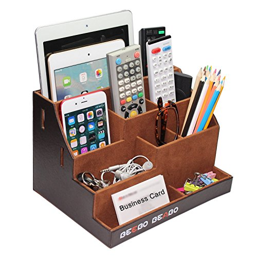 TV Remote Control Holder, Bed Side Organizer Caddy, Nightstand Storage Box with Multiple Compartments , Office or Home Desk Stationery holds Apple Phones, Tablets, Books, Glasses, - Holder Remote Book Control