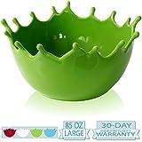 Premium Large Salad Bowl - Serving Bowl - Fruit Bowl - Candy Dish - Decorative Centerpiece Bowl - Best for Serving Fruit Salad Candy Popcorn Punch Chips Pasta - Unique Modern Design - Ceramic (Green)