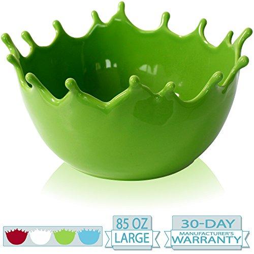 Premium Large Salad Bowl - Serving Bowl - Fruit Bowl - Candy Dish - Decorative Centerpiece Bowl - Best for Serving Fruit Salad Candy Popcorn Punch Chips Pasta - Unique Modern Design - Ceramic (Green) (Green Bowl Oval)