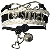 Infinity Collection Soccer Gifts- Soccer Bracelet, Soccer Jewelry, Love Soccer Bracelet, Adjustable Soccer Charm Bracelet- Perfect Soccer Gifts for Girls