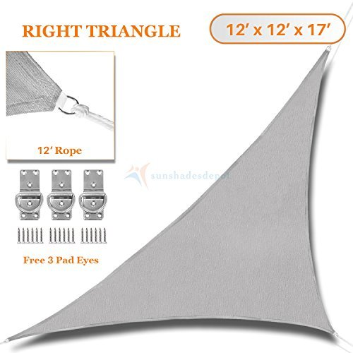 Sunshades Depot 12' x 12' x 17'Sun Shade Sail Right Triangle Permeable Canopy Light Grey Custom Size Available Commercial Standard