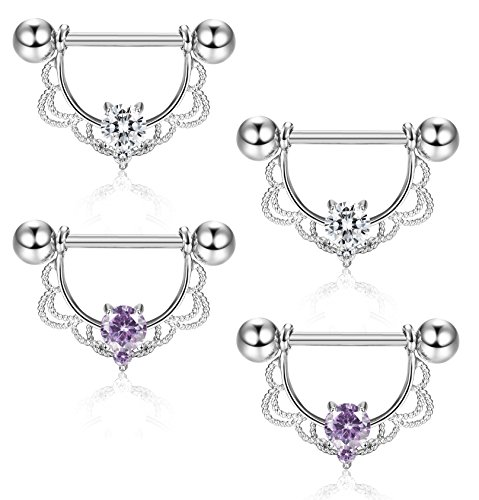 ORAZIO 4Pcs 14G 316L Stainless Steel CZ Opal Nipple Piercing Barbell Belly Button Ring for Women by ORAZIO