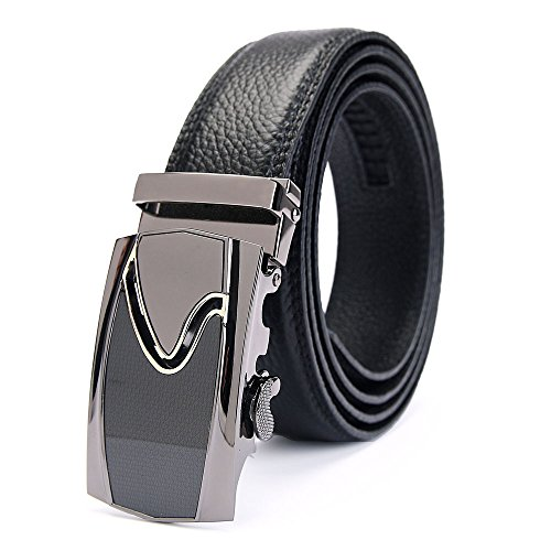 Men's Genuine cow Leather Belt with Automatic Ratchet buckle (Trimmed to fit) (Wholesale Designer Belts)