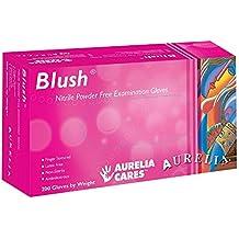 "Aurelia SUPL78887 Blush, Nitrile Gloves, Size: Box of 200, 9.44"" Height, 2.75"" Wide, 4.72"" Length, Nitrile, Medium, Pink (Pack of 200)"