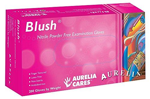 Aurelia SUPL78887 Blush, Nitrile Gloves, Size: Box of 200, 9.44' Height, 2.75' Wide, 4.72' Length, Nitrile, Medium, Pink (Pack of 200)