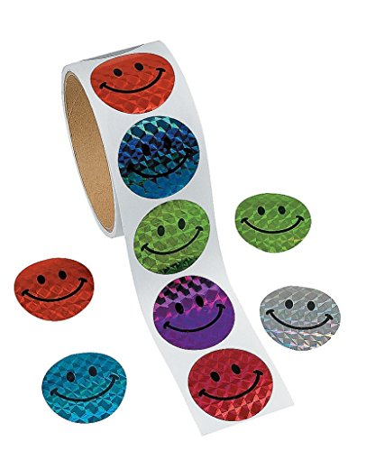 [100 Halographic Smiley Face Stickers] (Roll Stickers)