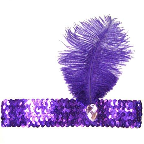 biduck99 Ladies Flapper Headband Ostrich Feather Headpiece Elastic Sequins Belt - - Purple And Gold Shop