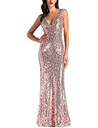Womens Rose Gold Sequin Bridesmaid Dress Sleeveless Long Evening Prom Dresses