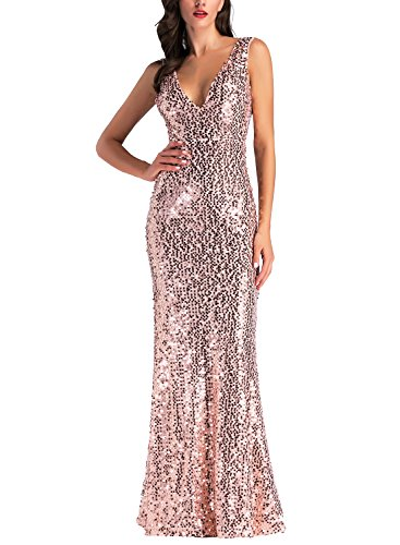IHOT Women's Rose Gold Sequin Bridesmaid Dress Sleeveless Long Evening Prom Dresses