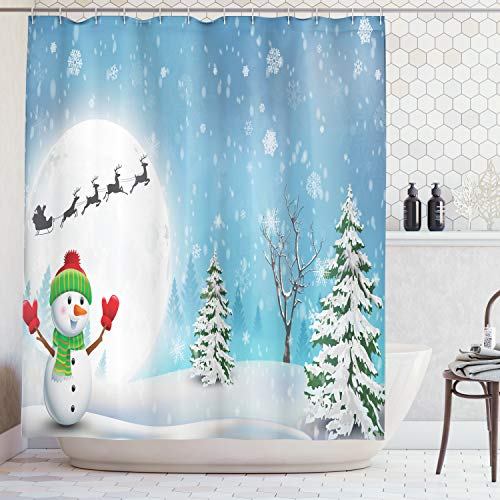 Ambesonne Christmas Shower Curtain, Jolly Snowman Under Full Moon Waving to Santa Claus with Reindeer Sleigh Kids, Fabric Bathroom Decor Set with Hooks, 70 Inches, White Blue ()