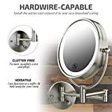 Ovente Lighted Wall Mount Mirror, 8.5 Inch, Dual-Sided 1x/7x Magnification, Hardwired Electrical Connection, Natural White LED Lights, 9-Watts, Nickel Brushed (MPWD3185BR1X7X)