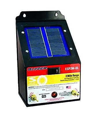 Blitzer ESP2M-BL Solar-Powered Electric Fence Energizer, 0.40-Joules, Low-Impedance