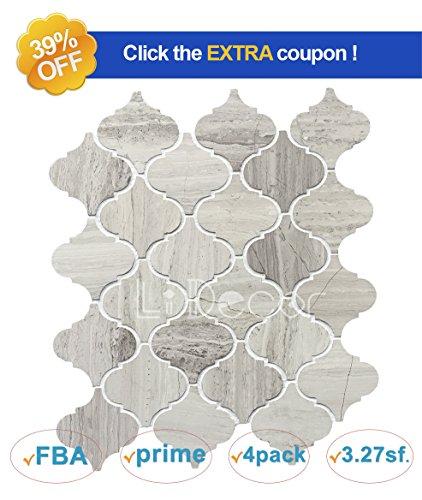 Decorative Wall Textures - White Oak Marble Natural Wood Veins Arabesque Lantern Mosaic Tile Wall Floor Decorative Bathroom Kitchen Backsplash Tiles (3.27sf,4Pack Per Case), Honed
