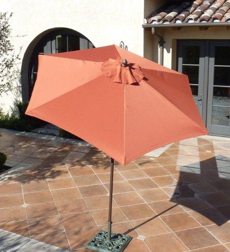 7.5ft aluminum market umbrella, crank & tilt, strong fiberglass ribs, color in Terra (Tropitone Glass Table)