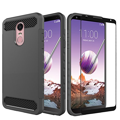 (LG Stylo 4 Case with Tempered Glass Screen Protector,IDEA LINE Heavy Duty Protection Hybrid Hard Shockproof Slim Fit Cover - Carbon Fiber)