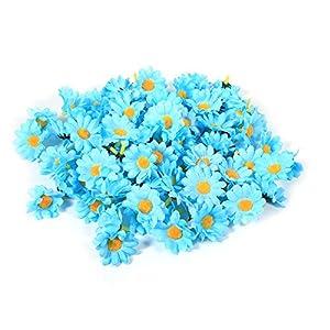 300PCS Artificial Gerbera Daisy Fabric Flower Head Wedding Party DIY Decoration Craft(Light Blue) 83