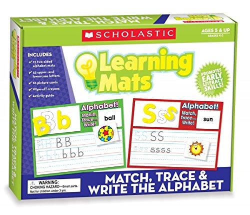 Scholastic Teacher's Friend Match, Trace & Write the Alphabet Learning Mats, Multiple Colors (TF7107)