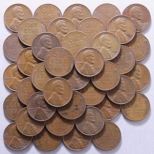 Wheat Cent Roll - 1956 D Lincoln Wheat Cent 50 Coin Roll Average Circulated Pennies