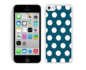 Polka Dot Dark green and White Apple Iphone 5C Case White Cover