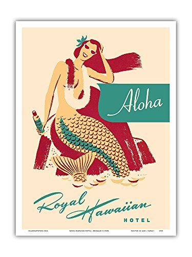 Royal Hawaiian Hotel - Mermaid with Sun Tan Oil - Vintage Advertising Poster c.1950s - Master Art Print - 9in x (The Royal Hawaiian Hotel)