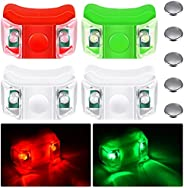 4 Pieces Boat Bow Lights LED Boat Navigation Lights with 5 Pieces Button Batteries for Boat Kayak Pontoon Hove