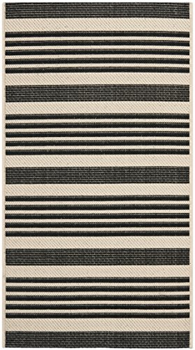 Safavieh Courtyard Collection CY6062-216 Black and Bone Indoor/ Outdoor Area Rug (2
