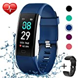 Fitness Tracker IP68 Waterproof Activity Tracker Fitness Watch with Heart Rate Blood Pressure Monitor Step Counter Calorie Counter Pedometer Activity Watch Tracker for Men Women Kids (Blue+Black)