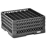 Vollrath Traex Black Plastic 49 Compartment Dishwashing Rack With Three Open Extenders - 19 3/4 L x 19 3/4 W x 8 3/4 H