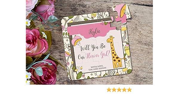 Amazon Giraffe Puzzle Flower Girl Invitation Will You Be My Wedding Handmade