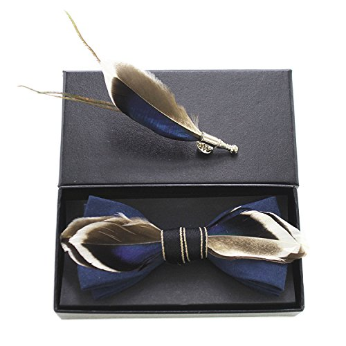 Brooch Feather - RBOCOTT Mens Handmade Feather Pre-tied Bow tie and Brooch Sets (navy/brown)