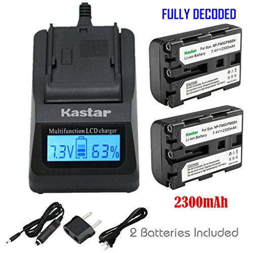 Kastar Ultra Fast Charger Kit and 2 X NP-FM50 InfoLithium Battery for Select Sony M Type Equivalent Camcorder/Digital Camera