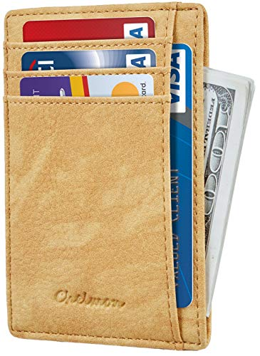 (Chelmon Slim Wallet RFID Front Pocket Wallet Minimalist Secure Thin Credit Card Holder (Vinti Yellow))