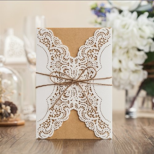 Wishmade 50x Rustic Laser Cut Lace Sleeve Wedding Invitations Cards Kits for Engagement Bridal Shower Baby Shower Birthday Graduation Cardstock with Hollow Favors Rustic Envelope(Set of (Rustic Wedding Invitation Kits)