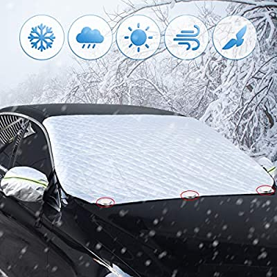 BACKTURE Car Windshield Cover, Duty Thick Heavy Ultra Protective Windscreen Cover-Snow Ice Sun Water Resistent-Pefect Fit for Cars SUVs Winter