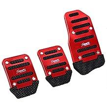 Amico 3 Pcs Black Red Metal Plastic Nonslip Pedal Cover Set for Car