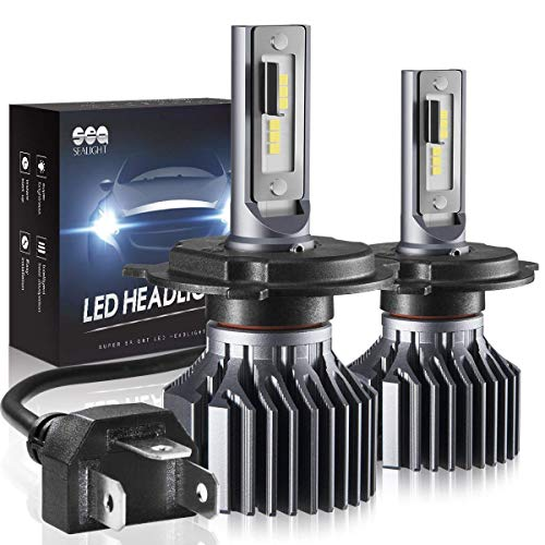 H4 9003 HB2 Led Headlight Bulbs, SEALIGHT Upgraded Super Bright 24x CSP Led Chips Headlight Kit -Hi/Lo Beam 6500LM 6000K White (Pack of ()